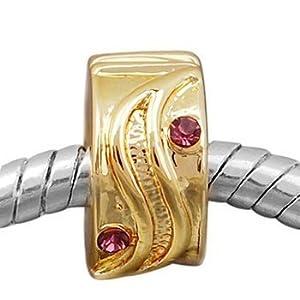 Andante-Stones 14K Gold Bead Clip Stopper mit Zirkonia (Modena) Element Kugel für European Beads + Organzasäckchen