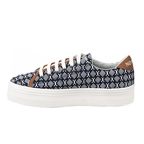 No Name Plato Sneaker, Baskets Basses Femme Bleu (Blue)