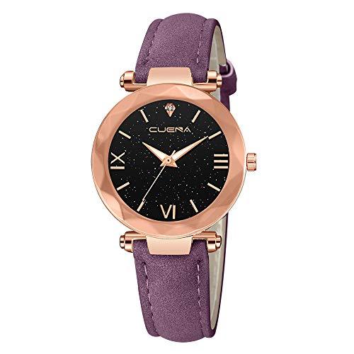 XZDCDJ Damen Uhr Armbanduhr Bracelet Jungen Uhr Mode Damen Lederband Analog Quarz Diamant Armbanduhr UhrenLila590