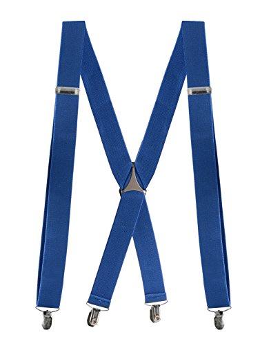 Buyless Fashion verstellbare und elastische Herren X-Hosenträger 3,8 cm breit - Metallclips - 5104 Farbe: Royal-Blue (Hosenträger Royal Blue)
