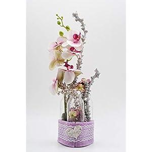 Romantisches Gesteck mit Flaschentrio+Orchideen-Tischgesteck mit künstlichen Blumen