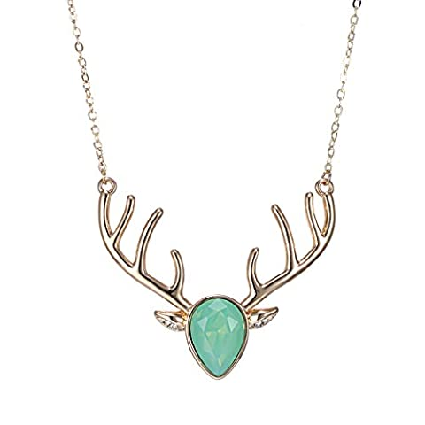 eManco Gold Statement Deer Antler Cute Animal Green Cyrstal Pendant
