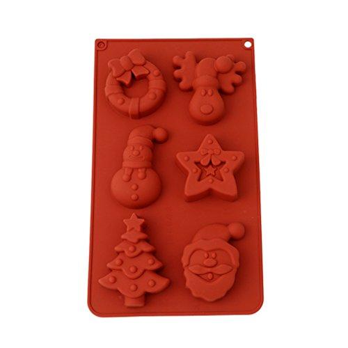 HENGSONG Weihnachten Silikonform Kuchenform Fondant Schokolade Form DIY Backen Formen Dekorieren, Weihnachtsmann, Rentier, Schneemann , Weihnachtsbaum, Sterne