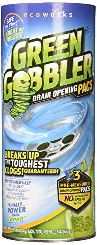 Green Gobbler Abflussreiniger - Umweltfreundlicher Abfluss- Und Rohrreiniger Wirkt Selbst Bei Hartnäckigsten Verstopfungen - Biologisch Abbaubare Reinigungsformel, Einfach In der Anwendung - 3 Pacs