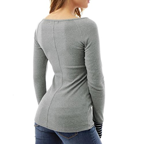Oyedens Blouse Femme Chic Femme Manche Longue Chemisier Slim Blouse Femme T Shirt Tops Hauts Fashion Chemisier Femme Fille Eté Chemise Femme Casual Vetement Femme Pas Cher Gris