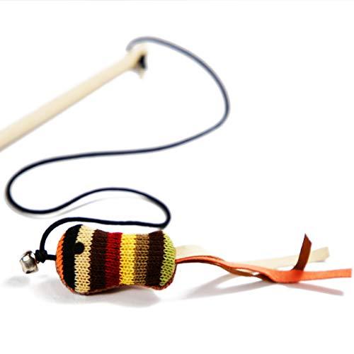 Rollmops Interaktives Katzenspielzeug | Katzenangel mit Maus und Glocke | Robuste Lederbänder | 40cm