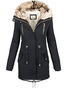 Warme Damen Winter Jacke Parka langer Mantel Winterjacke Fell Kragen S-XL B420
