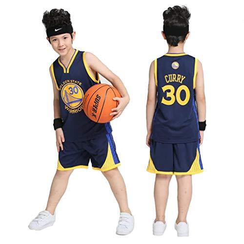 FNBA Kinder Jungen Basketball Trikots Set - Warriors Stephen Curry # 30 Basketball Uniform Sommer Besticktes Hemd Weste Shorts-Grey-XS(105-115CM)