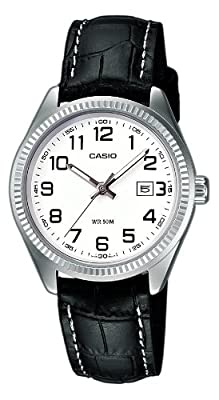 CASIO Collection LTP-1302L-7bVEF de cuarzo, correa de piel color negro (con luz)