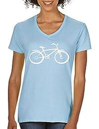 Comedy Shirts - Fahrrad - Damen V-Neck - V-Ausschnitt, 100% Baumwolle, Kurzarm Top Basic Print-Shirt