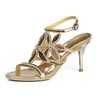 Sanmulyh Chaussures Femme Polyuréthane Printemps Été Mode Bottes Sandales Open Toe Strass Cristal Scintillant Boucle Glitter Pour Party & Soirée Or