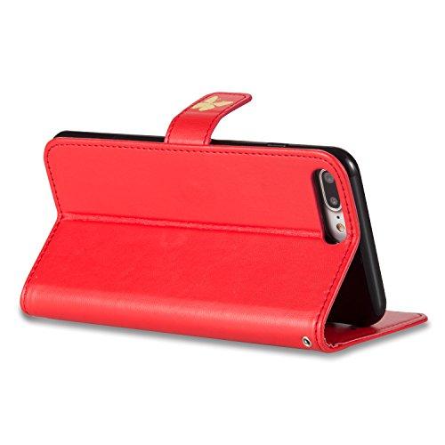 Cozy Hut® Ultra Schlank Folio Handyhülle / für iPhone 7 PLUS (5.5 zoll) Cover / Case / Bumper Hülle Schutzhülle / Rückdeckel Schutzhülle / Handy Hülle / Ultra-thin soft shell / Strass Bräunung Stil Bl Big Red