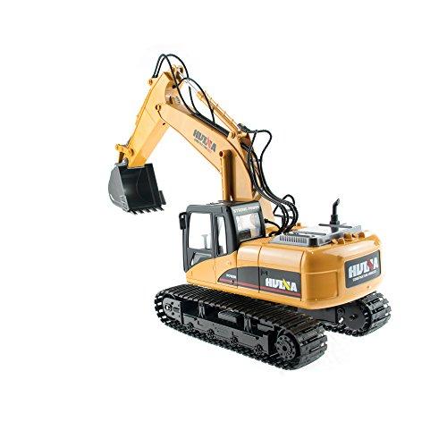 RC Auto kaufen Baufahrzeug Bild 3: efaso 1:14 RC Bagger 1550 - 2,4 GHz Baustellenfahrzeug mit Licht und Sound, Schaufel aus Metall, Aufnahmemodus und umfangreichen Steuerungsmöglichkeiten*