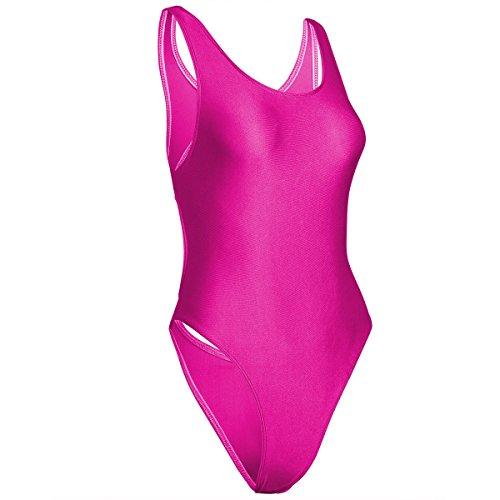 Tiaobug Damen Damen Body- Achselhemd- Unterhemd- glatt Wetlook Dessous Unterwäsche mit Schwimmrücken Rose