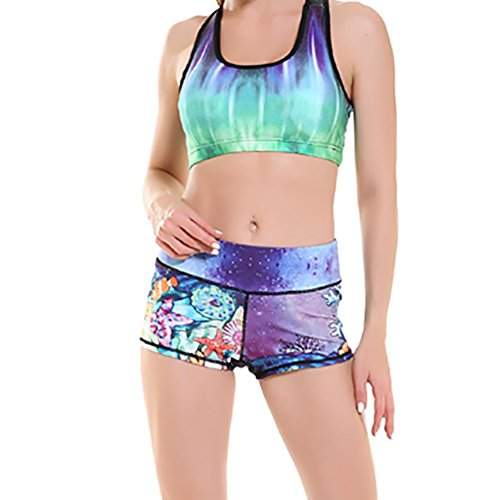 Blue Spirit Kleider Unterwasser Welt Cartoon Fitness / Sport Super elastische Yoga Shorts Unterwasserweltkarikatur