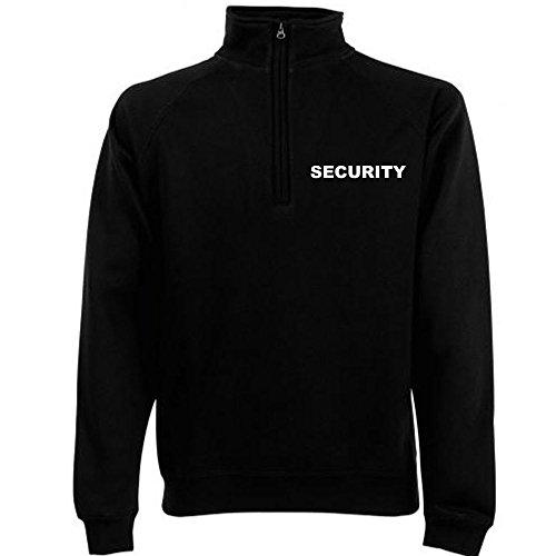 SECURITY ZIP NECK SWEAT-Shirt Schwarz - Brust & Rücken bedruckt, T-Shirt Größe:S (Security Polo Schwarzes)