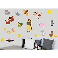 CHILDRENS FARM ANIMALS - Pack of 20 - Repositionable Wall Art Vinyl Printed Stickers