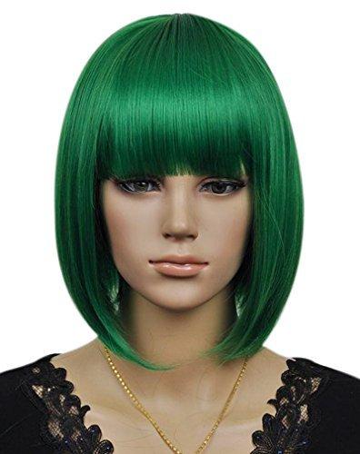 Kalyss Frauen Cosplay Party Kurze gerade dunkle grüne Bob Haar Perücken Kanekalon Synthetische Faser (Perücke Pflege Synthetische)