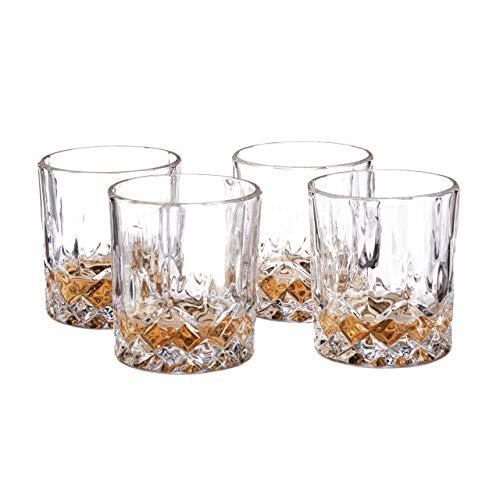 Relaxdays Whisky Gläser 4er Set, 250 ml, Gastro, edle Kristalloptik, feine Whiskybecher, f. Hausbar/Vitrine, transparent