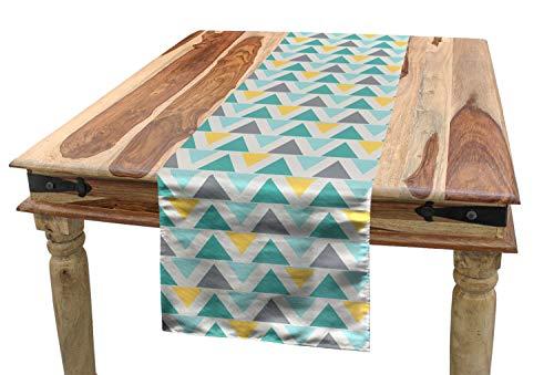 ABAKUHAUS Geometrisch Tischläufer, Chevron-Retro-Stil, Esszimmer Küche Rechteckiger Dekorativer Tischläufer, 40 x 225 cm, Seafoam Gelb Grau