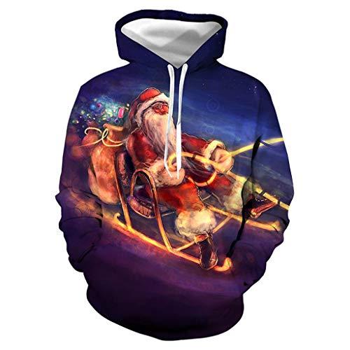 Zylione Weihnachtspullover Herren Unisex 3D Druck Hoodie Drawstring Taschen Kapuzenpulli Langarm Sweatshirt Männer Lustig Weihnachten Tops