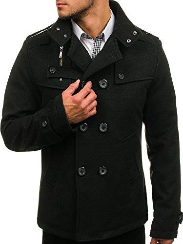 BOLF Herren Mantel mit modische Steppeinsätze Herrenmode Knopfleiste eleganter Look Coat PPM 8857 Schwarz M [4D4]