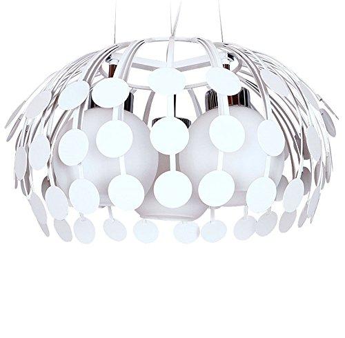 Modern Pendelleuchten Retro Hängelampe Kronleuchter Eisen Glas weißen E27 Sockel 220V Höhenverstellbar (3-flammig)Dekorative Beleuchtung für Schlafzimmer Café Küche Bar Esssaal Restaurants(ohne Birne)