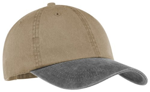 Port & Company® -Two-Tone Pigment-Dyed Cap. CP83 Khaki/Maroon OSFA (Cp83-port)