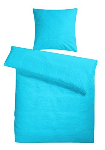 Leichtes Seersucker Bettwäsche Set 135 x 200 cm Türkis Blau – atmungsaktiver Bettdecken- und Kopfkissen-Bezug aus reiner Baumwolle mit Reißverschluss – 2 teilige Sommerbettwäsche Premium-Qualität