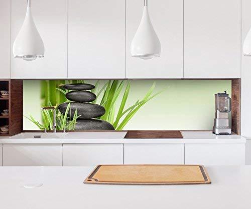 Aufkleber Küchenrückwand Wellness Zen Steine Bambus Spa Folie selbstklebend Dekofolie Fliesen Möbelfolie Spritzschutz 22A158, Höhe x Länge:60cm x 250cm