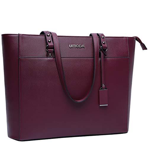 Laptop-Tasche, 39,6 cm (15,6 Zoll) langer Schultergurt, Laptop-Tasche für Damen, mehrere Taschen, große Arbeitstasche mit dickem Schaumstoffpolster one size C-burgundy