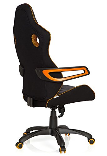 41emqargpJL - hjh OFFICE 621850 RACER PRO IV - Silla gaming y oficina, tejido negro/gris/naranja