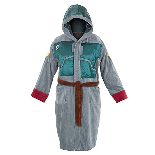 Erwachsene Offiziell Star Wars Boba Fett Fleece Satin Mit Kapuze Bademantel Bademantel - Herren, Star Wars - Boba Fett, (Satin Kapuze Robe Mit)