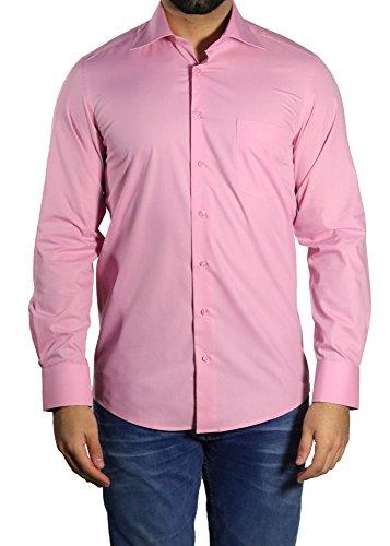 Muga -  camicia classiche  - basic - classico  - maniche lunghe  - uomo rosa antico medium