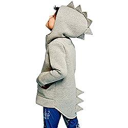 K-youth Abrigo de Bebe Sudadera con Capucha para Niños Dinosaurio Sudadera Niña Ropa Bebé Niños Manga Larga Blusas Bebe Niño Sweat Shirt Tops 2018 Camiseta para Niños(Gris, 4-5 años)
