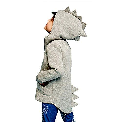 (Baby Kapuzenpulli Honestyi Kinder Kind Baby Oberbekleidung Jacke Dinosaurier Stil mit Kapuze Headwear Mantel Kleidung (Grau,140))