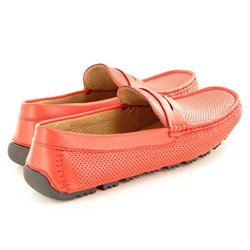 Herren Casual bequeme Soft & Slipper Mokassins Slipper Schuhe Rot