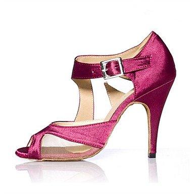 Silence @ Femme Filles piste de danse latine Salsa Dance Chaussures en maille talons satiné Upper Chaussures de danse Tango ChaCha Violet/noir Violet