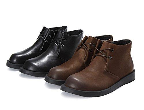 Cuir Hommes Printemps Automne Mode Noir Brun Confortable Casual Derby Oxford Lace Mocassins Haut Pour Aider Les Chaussures Vintage Black