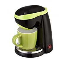 TKG One Cup Coffee Maker with 250 ml Ceramic Mug, 400 W, 0.25 Litre, Green/Black