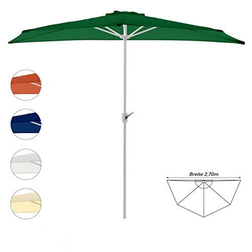 Nexos Sonnenschirm Grün halbrund Ø 2,70 x 1,40m Wandschirm Balkon-Schirm mit Kurbel Polyester 160...