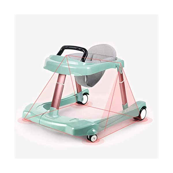 Baby Walker Multi-Function Anti Rollover U-Shaped Children Stroller 6/7-18 Months mmq ▶ height double adjustment, walker adjustment + seat cushion adjustment, according to the baby's different height, adjust to the height of the baby, let the baby comfortably walk, mute the universal wheel, no noise, no damage to the floor ▶ Heighten the thick cushion to fit the physiological curvature of the baby's cervical spine, soft and breathable cushion, detachable, easy to clean, safe and hygienic,Foldable design for easy storage ▶ Pyramid mechanics stable structure, multi-function anti-rollover, even force, help the baby to maintain body balance, reject O-legs, can cultivate the baby's correct walking posture, get out of the beautiful leg type 3