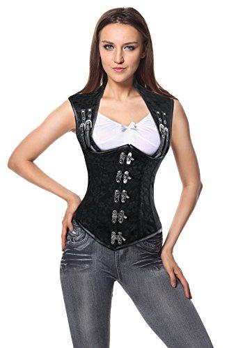 Charmian Women's Steampunk Steel Boned Gothic Brocade Underbust Corset Vest Schwarz