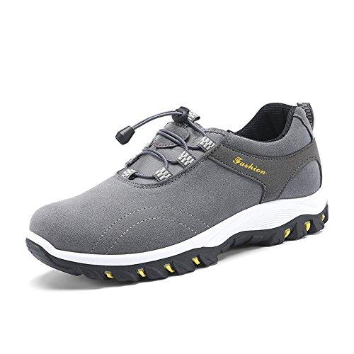 TYLS Shoes lww-Scarpe uomo scarpe basse in pelle Testa tonda colore solido bocca poco profonda scarpe da escursionismo Grey