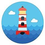 Wandtattoo Kinderzimmer Leuchtturm mit Wellen und Wolken Wandsticker Ozean Deko