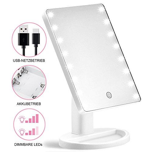 Kosmetikspiegel, KYG Schminkspiegel mit 16 LEDs Beleuchtung USB wiederaufladbarer  Standspiegel  batteriebetrieber Tischspiegel dimmbarer Make up Spiegel , weiß