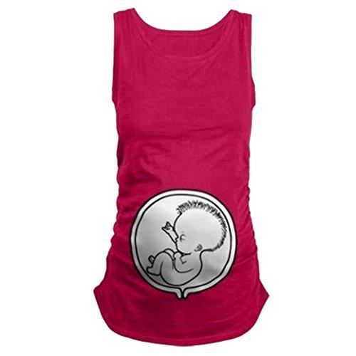 Q.KIM Camiseta de Maternidad sin Mangas del Chaleco de Elasticidad Suave Embarazada Premamá T-Shirt bebé Divertido Estampado - para Mujer