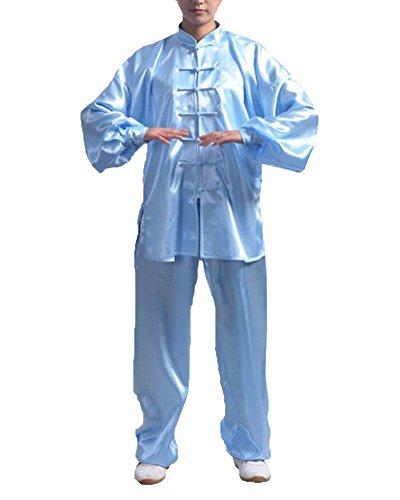 Bequem Kung Fu Uniform Tai Chi Kampfkunst Kleidung Wushu Anzug Trainingsanzug Tops Und Hose Unisex Blau XL