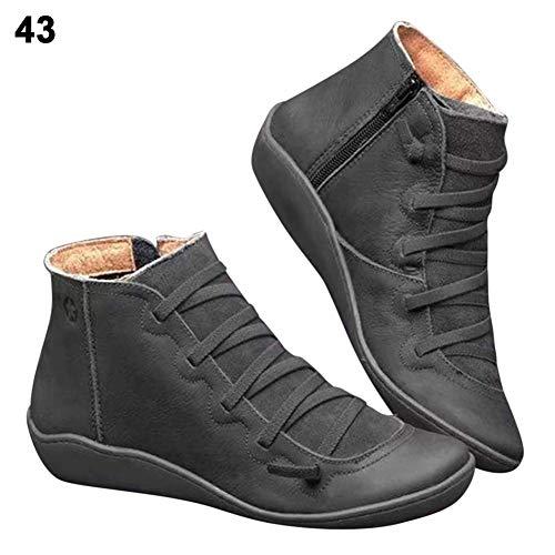 2020 Botines de Cuero Otoño Vintage con Cordones,Bloomma Zapatos...