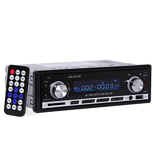 Autoradio YOKKAO Radio de Voiture FM Stéréo MP3 Lecteur Audio Bluetooth Support SD/MM Carte, USB Clé, 3,5mm Aux avec Télécommande